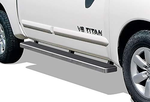 APS iBoard Running Boards 5 inches Custom Fit 2004-2019 Nissan Titan Crew Cab Pickup 4-Door & 16-19 Titan XD (Nerf Bars Side Steps Side ()