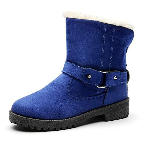 Stivali Stivali Moda Donna Di Breve Inverno Cotone In Scarpe Tubo Tubo Tubo Stivali Neve Da Antiscivolo Cintura Stivali Stivali Fibbia Da Blue Da Cotone Dimensioni KUKI Moda Grandi Caldo Inverno qw4EZOn