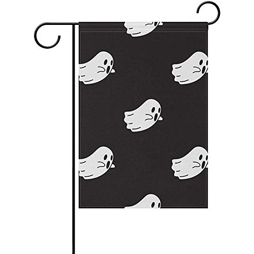 Cvhtr3m Ghost Halloween Wallpaper Polyester Garden Flag Double-Sized Print Decorative Holiday Home Flag, 12 x 18 inches
