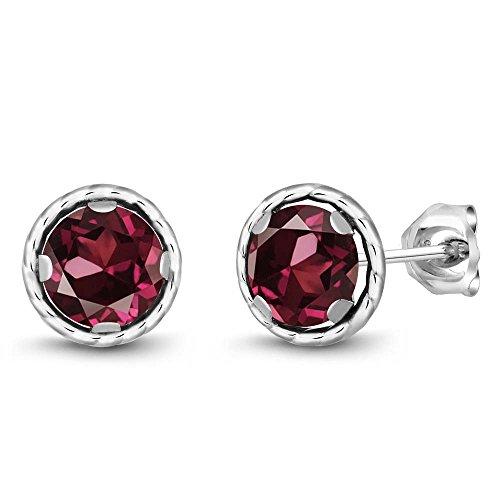 Gem Stone King 925 Sterling Silver Red Rhodolite Garnet Stud Earrings For Women (2.00 Ct Round 6MM)
