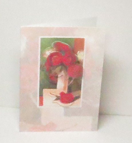 Handmade 3D Red & White Floral Bouquet in Vase Greeting Card, Framed in Glitter, with Faded Floral Background, Blank Inside for Any Occasion