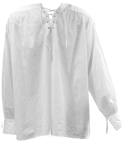 Men's Gothic New Romantic Larp Poet Lace Up Wide Cuff Shirt White -