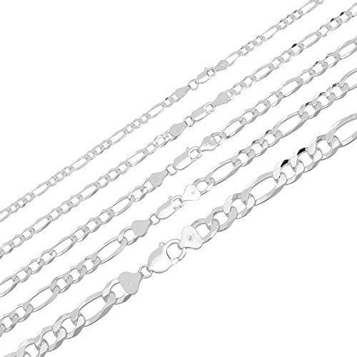 Harlembling Men's Ladies Solid 925 Sterling Silver Figaro Link Chain - 3-10mm 18-30