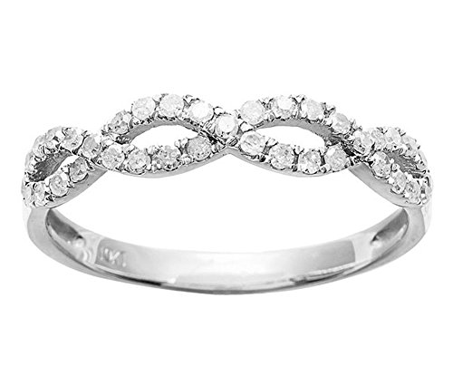 10k White Gold Infinity Diamond Anniversary Ring (1/4 cttw, I-J Color, I2-I3 Clarity) ()