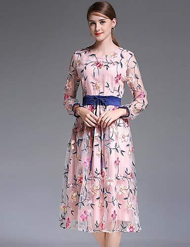 Slim Boho Da Pink plaid Lace Swing Yfltz Floreale Dress Donna Alta Blushing Vita geometrico Silk tassel stampa A EIqEAwxTX