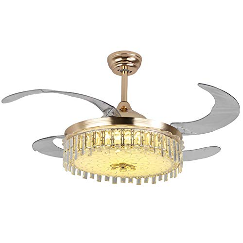 (NAF Modern Crystal Ceiling Fan Light with Remote Control, 42