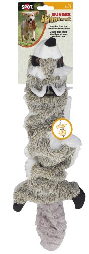 Ethical Pet SPOT Bungee Skinneeez | Stuffingless Plush Animal Toy for Dogs | Interactive Dog Toys | Raccoon | Expands 36