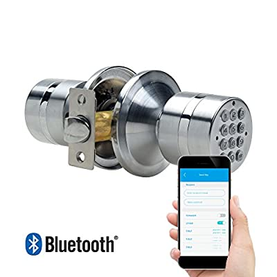 TurboLock TL-99 Bluetooth Smart Lock for Keyless Entry & Live Monitoring – Send & Delete eKeys w/ App on Demand (Silver)