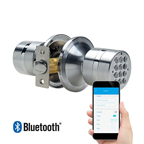 TurboLock TL-99 Bluetooth Smart Lock for Keyless Entry & Live Monitoring – Send & Delete eKeys w/ App on Demand (Silver)