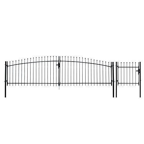 ALEKO DWGD13X5PD DIY Ornamental Dual Swing Driveway Gate Kit Athens Style 13 x 5 Feet with Pedestrian Gate 3 x 5 Feet