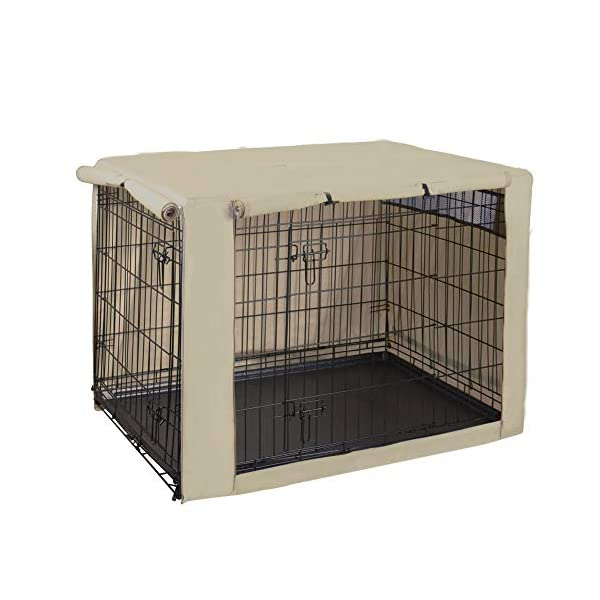 HiCaptain Polyester Dog Crate Cover – Durable Windproof Pet Kennel Cover for Wire Crate Indoor Outdoor Protection (42 inches, Light Tan)