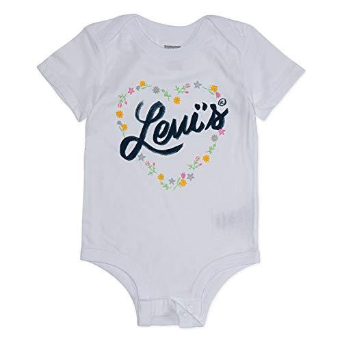 (Levi's Baby Graphic Bodysuit, White Flower Heart 6M)