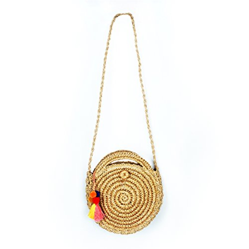 Women Mini Round Straw Rattan Bag Handwoven Summer Beach Shoulder Bag Vintage Woven Crossbody Bag by YINUOWEI