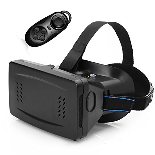 FAVOLCANO Newest Ritech Riem II Google Cardboard Head Mount Plastic Version Virtual Reality Magnet VR Mobile Phone IMAX 3D Glasses 3D Movies Games with Bluetooth Wireless Mouse Gamepad for 3.5 to 6 inch Smartphone