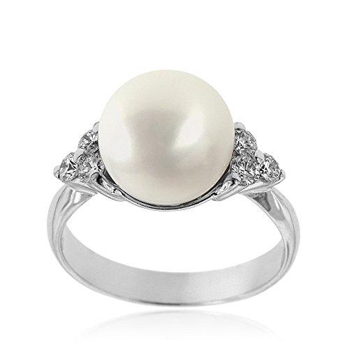 Gioiello Italiano – White gold ring with diamonds and australian pearl