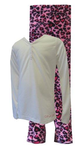Calvin Klein Pink Leopard Hearts Long Sleeve Pajamas for Big Girls (7/8)