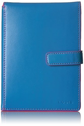 Lodis Audrey RFID Passport Wallet with Ticket Flap, Blue/hot Pink