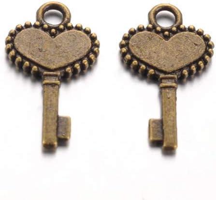 50 Key Charms Antiqued Bronze Heart Keys Bulk Skeleton Keys Wholesale 2 Sided