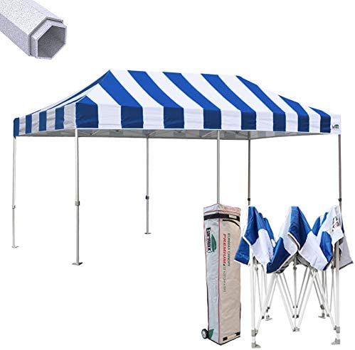 Eurmax Premium 10 x 20 EZ Pop up Canopy Tent Wedding Party Canopies Gazebo Shade Shelter Sport Grade Bonus Wheeled Bag Striped Blue White