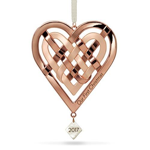 Gold Heart Ornaments - Hallmark Keepsake 2017 Our First Christmas Heart Metal Dated Christmas Ornament