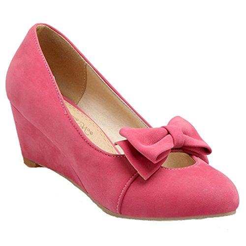 Elegant Heel Womens Court With Pumps Wedge Nubuck Shoes Bowtie Pink Mid ENMAYER qX5wfxx