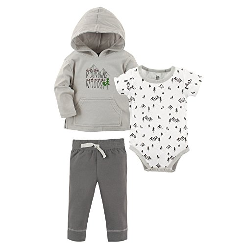 Yoga Sprout Baby 3 Piece Jacket, Top and Pant Set, Mountains and Woods, 12-18 Months (18M)