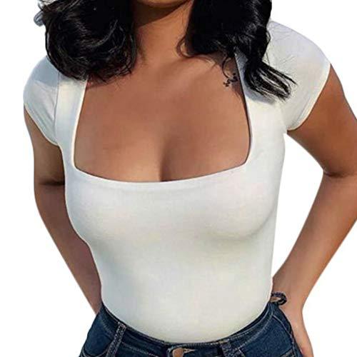 (Moxiu Blouses Women U-Neck Tank Tops Summer Short Sleeve Square Collar Casual Skinny T-Shirt (S, White))
