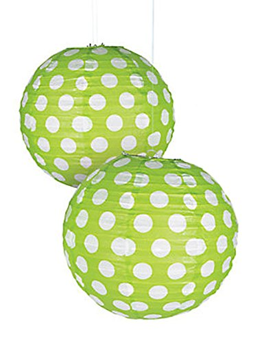 "Lime Green Polka Dot Paper Lantern - 12"" - Set of 2"
