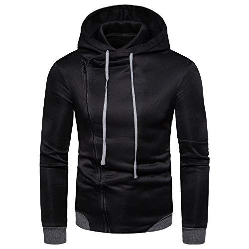 (ANJUNIE Men's Hoodie Autumn Winter National Style Print Long Sleeve Top Casual Blouse(3-Black,XL))