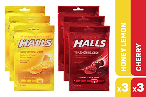 HALLS Cough Drops Honey Lemon & Cherry Variety Pack - 180 total drops