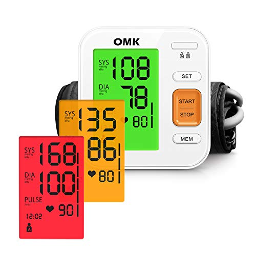 Blood Pressure Monitor Tricolor Backlit, OMK Automatic BP Monitor with Large Cuff 22-40cm, 2x120 Memories, Irregular Heartbeat Detection, Accurate and Easy to Use, FDA & CE Approved
