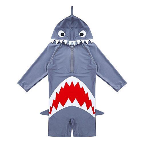 TiaoBug Kids Boys Girls Rash Guard Shark Swimsuit One-Piece Jumpsuit Swimwear Bathing Suit Gray ()
