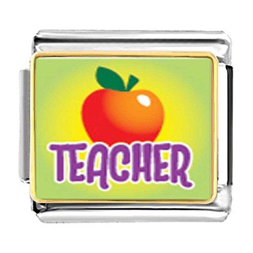 GiftJewelryShop Gold Plated Teacher Apple Bracelet Link Photo Italian Charms