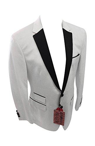 Flash Apparel Men's Insomnia by Manzini Velvet Jacket Blazer Prom Entertainer Performer Musician White and Black Trim MZV410 (Large = 44) (410 Flash)