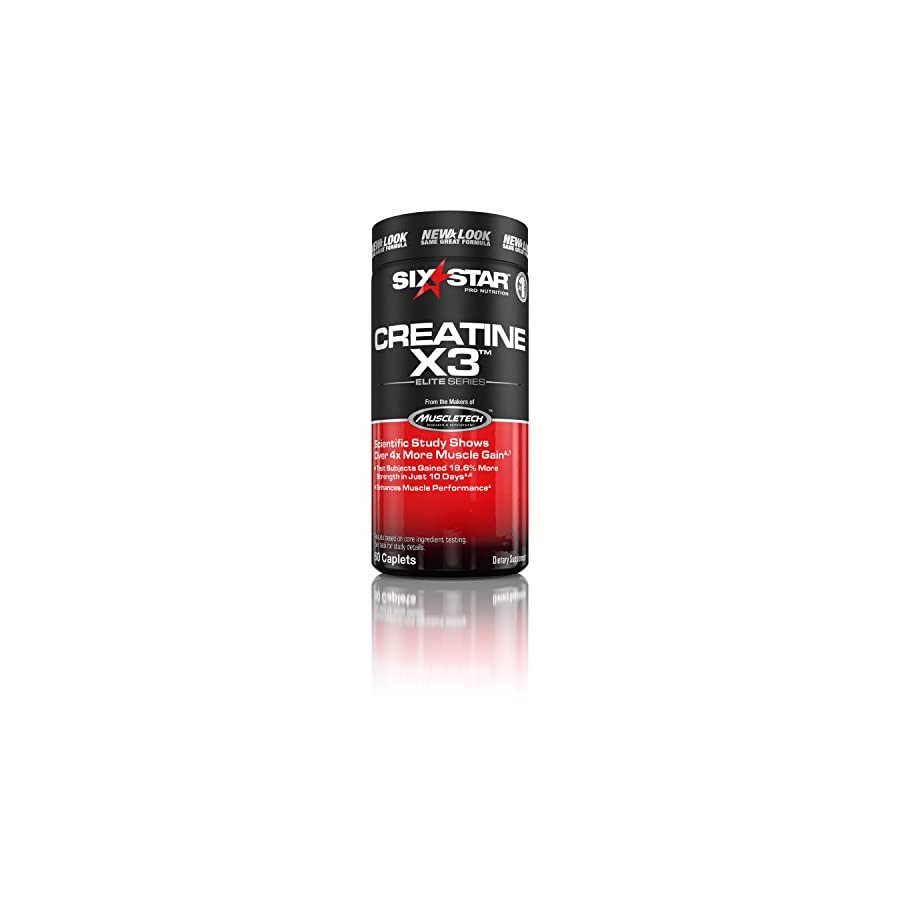 Six Star Pro Nutrition Creatine X3 Pills, Micronized Creatine Capsules Featuring Ultra Pure Creatine Monohydrate, 60 Caplets