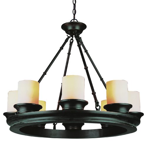 Wagon Wheel Lighting (Trans Globe Lighting 3368 ROB Chandelier with Frosted Glass Shades, Rubbed Oil Bronze Finished)