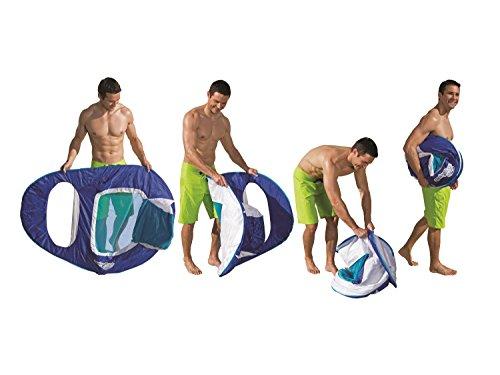SwimWays Spring Float Recliner - Swim Lounger for Pool or Lake - Dark Blue/Light Blue
