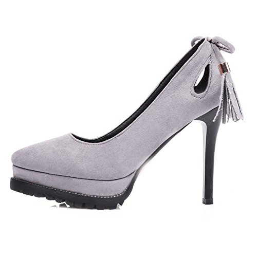 SJJH Stiletto Court Shoes with Mini/Plus Size Avaialble Suede Materail Sexy High Heel Dressy Shoes Grey ePS8Pvb
