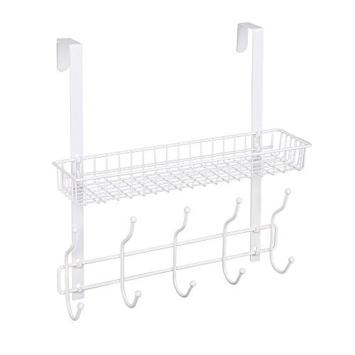 NEX Upgrade Over The Door Hook Shelf Organizer 5 Hooks With Basket Storage Rack For Coats & Towels, Chrome (White) Chrome 5 Hook Coat