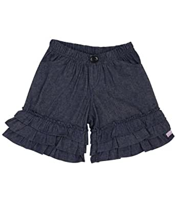 RuffleButts Infant / Toddler Girls Denim Ruffle Gauchos - Blue - 18-24m