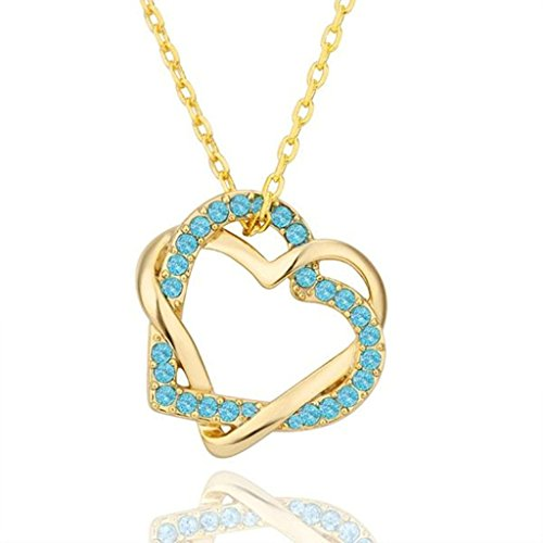 AmDxD Jewelry Gold Plated Women Pendant Necklace Blue Gold Cubic Zirconia CZ (Foiled Panther)