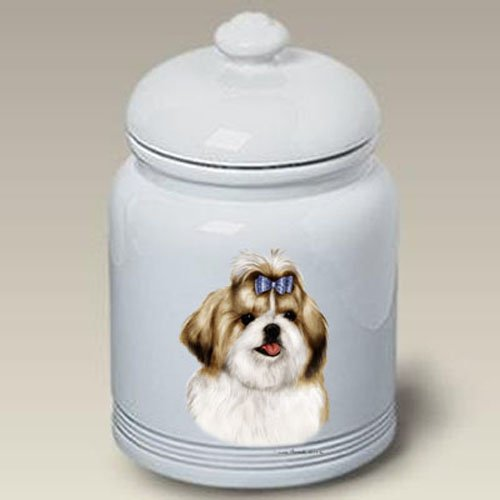 Best of Breed Shih Tzu (Gold and White): Ceramic Treat Jar 10