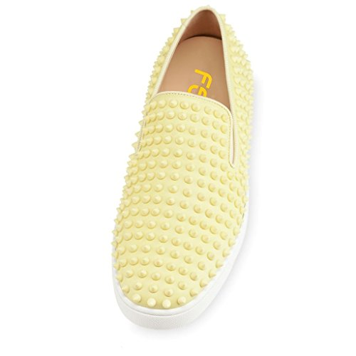 FSJ Unisex Casual Slip On Sneakers Low Top Flats With Rivets Soft Walking Shoes Size 4-16 US Yellow 4959LeVfM1