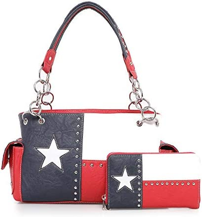 Montana West Women's American Pride Flag Studded Collection Wallet/Crossbody Handbags, Concealed Handgun Tote/Messenger