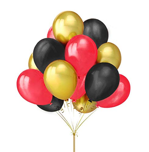 Fecedy 12 Gold Black Red Latex Balloons For Party 100pcs