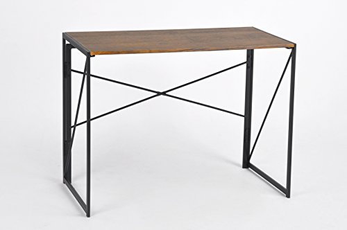 Dark Coffee / Black Metal Frame Computer Laptop Writing Study Desk Modern Home Office with Easy Fold