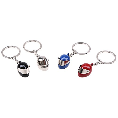 Fashion Metal Motorcycle Helmet Keychain, Men's and Women's Classic Keychain, 4PCS