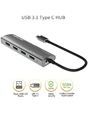 Wavlink USB C 3.1 to USB 3.0 Series 4-Port USB Hub Bus Aluminum Body USB 3.1 Type C Interface External USB Extension for MacBook Nokia N1 Chrome Ultrabook or Other USB C Devices- Gray …