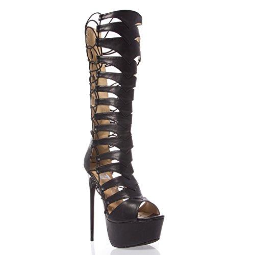 V-Luxury Womens 11-VICKY01A Open Toe Strappy Knee High Stiletto Heel Gladiator Sandal Shoe, Black PU Leather, 7.5 B (M) US