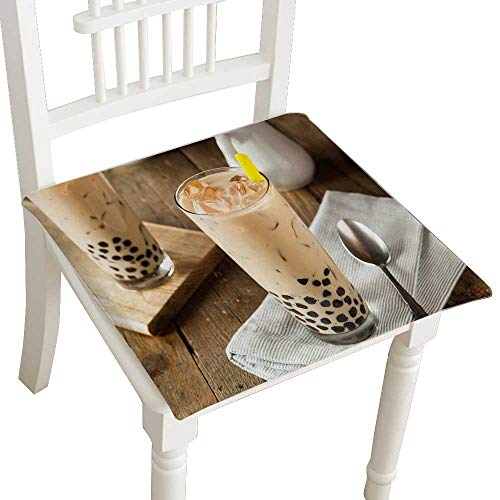 Chair Bubble Club (HuaWuhome Premium Chair Cushion Homemade Milk Bubble Tea with Tapioca Pearls Cushions 16